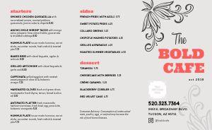 Bold Cafe Takeout Menu