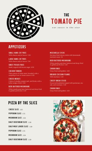 Specialty Pizza Pie Menu