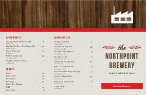 Wooden Brewery Folded Menu