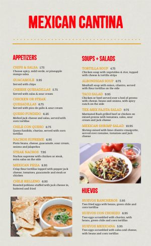 Sample Mexican Cantina Menu