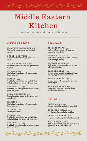 Middle Eastern Cuisine Menu