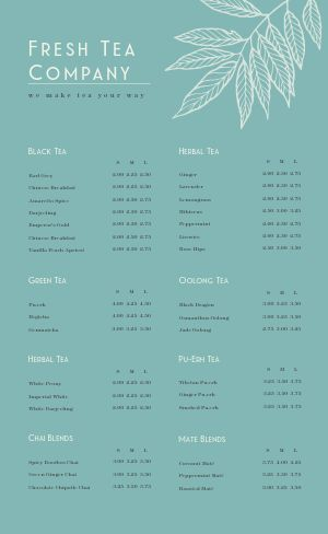 Fresh Tea Menu