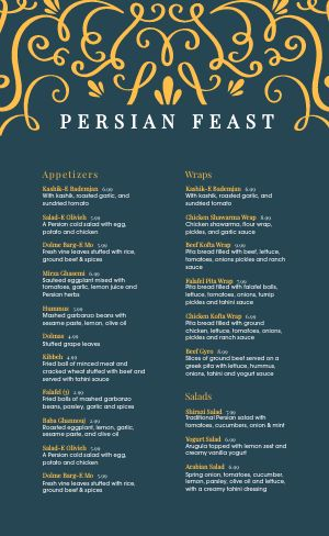 Persian Cuisine Menu