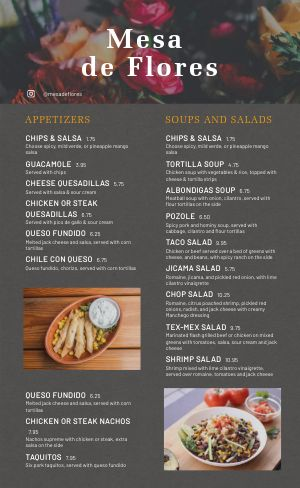 Example Mexican Cuisine Menu