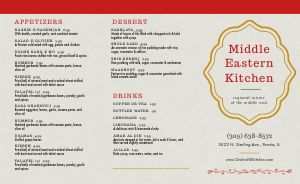 Middle Eastern Cuisine Takeout Menu