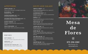 Example Mexican Cuisine Takeout Menu