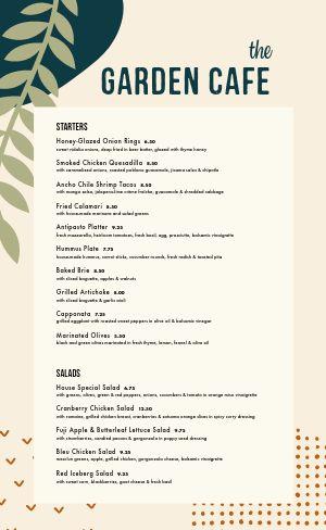 Plant Cafe Menu