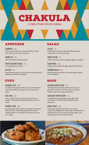 African Food Menu Example