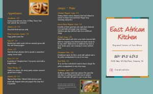 African Restaurant Takeout Menu Example