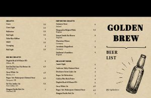 Brewing Company Folded Menu