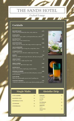 Hotel Cocktail Menu