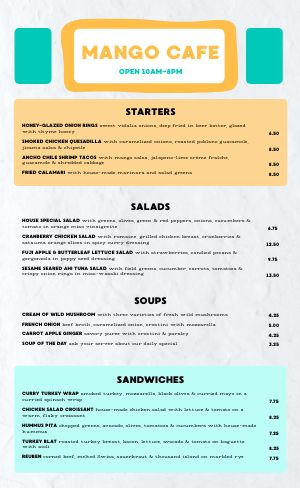Marker Cafe Menu