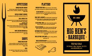 Barbeque Takeout Menu