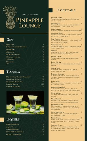 Tropical Cocktail Lounge Menu