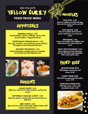 Thai Food Truck Menu