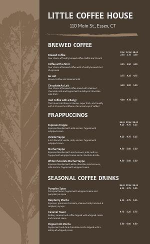 Autumn Coffeehouse Menu