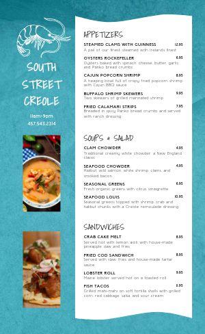 Example Creole Seafood Menu