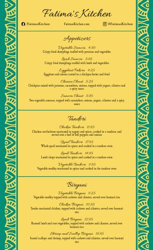 Simple Indian Menu Sample