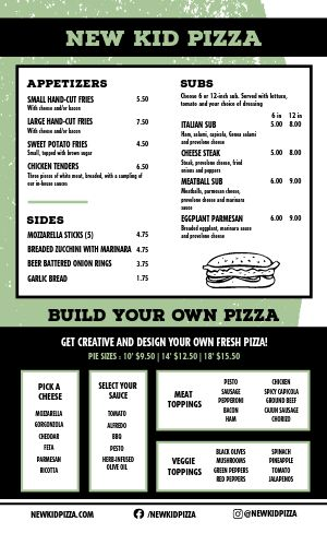 American Pizza Menu