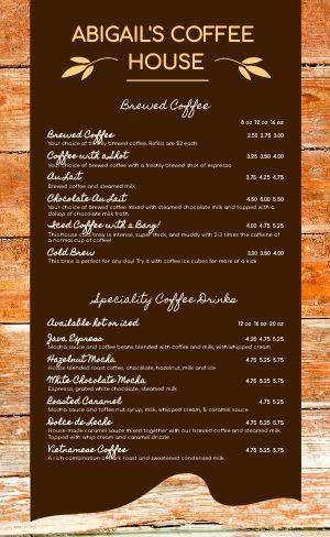 Woodgrain Coffee Menu