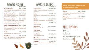 Fall Coffee Digital Menu Board