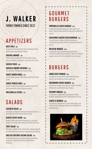 American Burger Menu Example
