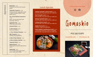 Casual Japanese Cuisine Takeout Menu