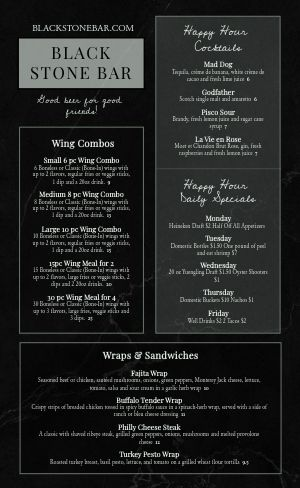 Example High End Bar Menu