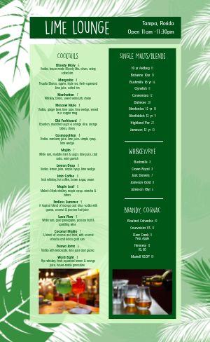 Tropical Cocktail Drink Menu