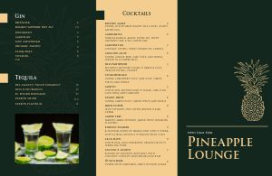 Tropical Cocktail Lounge Folded Menu