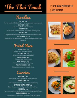 Thai Food Cart Menu Poster