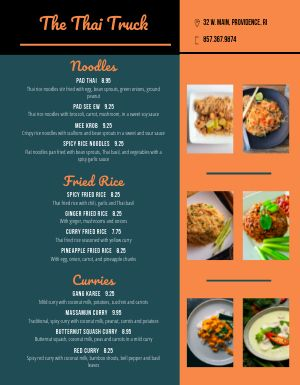 Thai Food Cart Menu