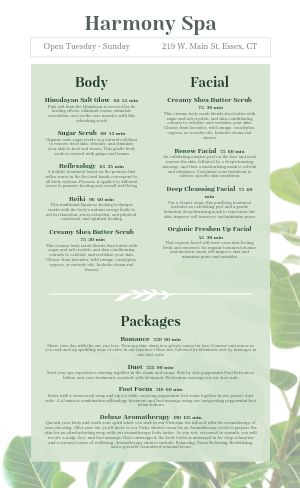 Spa Menu Sample