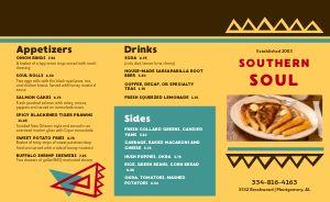 Soul Food Takeout Menu Example