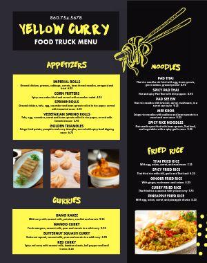 Thai Food Truck Menu Poster