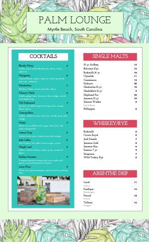 Tropical Cocktail Menu