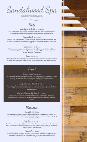 Wooden Spa Menu