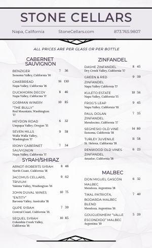 Printable Wine Menu