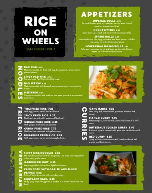 Thai Food Cart Menu Example Poster