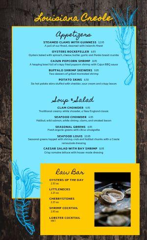 Louisiana Creole Seafood Menu