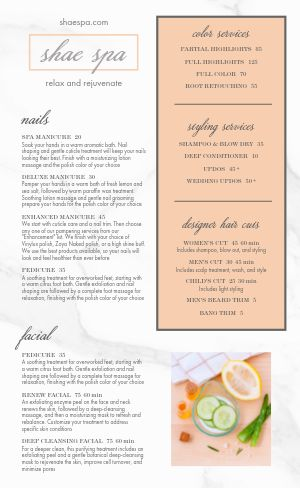 Sample Spa Menu