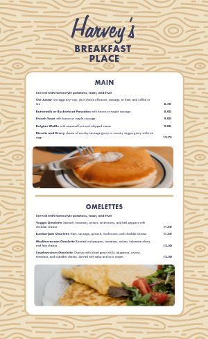 Breakfast Diner Menu