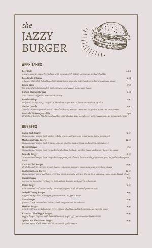 Printable Burger Menu