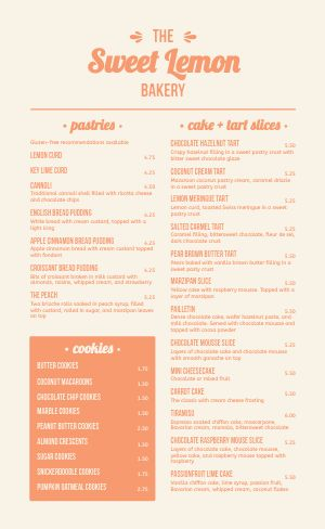 Vintage Bakery Menu