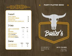 Barbecue Party Platter Bifold Takeout Menu