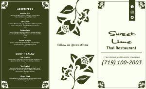 Simple Thai Restaurant Takeout Menu