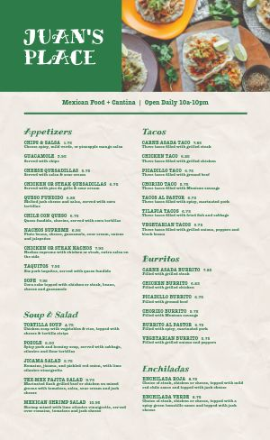 Mexican Food Cantina Menu