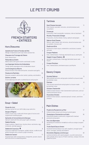 French Eatery Menu