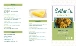 Example Beach Cafe Takeout Menu