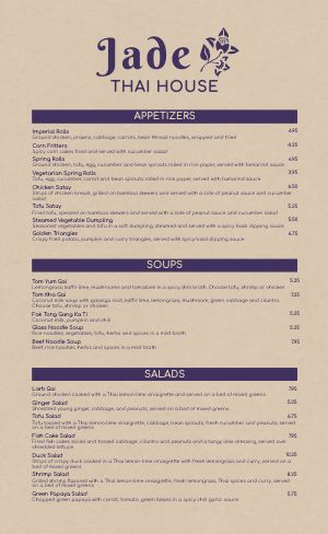 Thai Dine In Menu